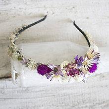 Ozdoby do vlasov - Kvetinová čelenka Fialovo-biela - 9821562_