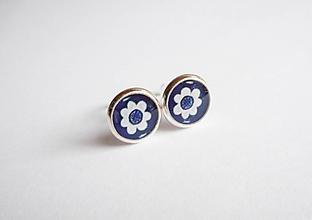 Náušnice - Živicové náušnice - Mini kvietky modré - 9822714_