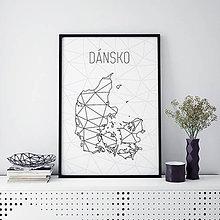 Grafika - DÁNSKO, minimalistická mapa - 9821833_
