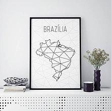 Grafika - BRAZÍLIA, minimalistická mapa - 9822610_