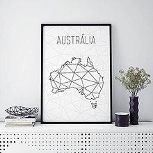 Grafika - AUSTRÁLIA, minimalistická mapa - 9822726_