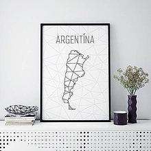 Grafika - ARGENTÍNA, minimalistická mapa - 9822736_