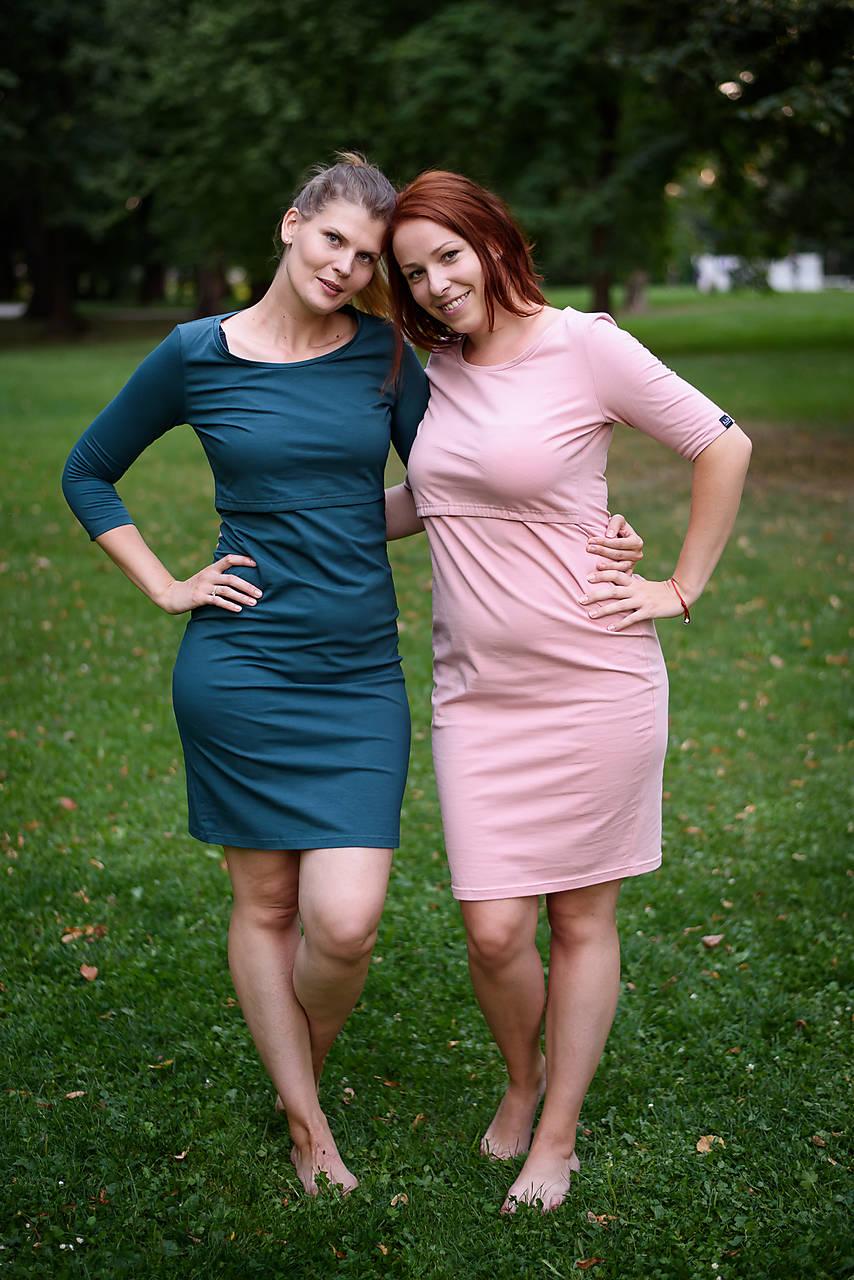 Šaty - Bavlnené šaty na dojčenie Classic - petrolejová - 9822274_