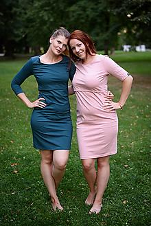 Šaty - Bavlnené šaty na dojčenie Classic - petrolejová (36 - petrolejová) - 9822274_