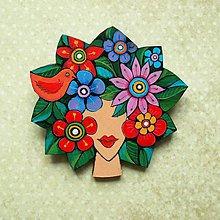 Odznaky/Brošne - Léto - kožená brož s malbou - 9822473_