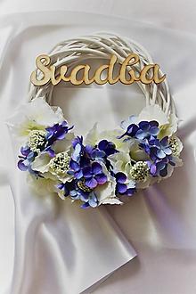 Dekorácie - Svadobný venček na dvere levanduľový - 9824656_