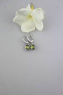 Náušnice - olivín náušnice - v striebre (brúsený olivín-peridot) - 9825828_