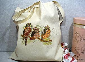 Nákupné tašky - ľanová nákupná taška Sovičky - 9825234_