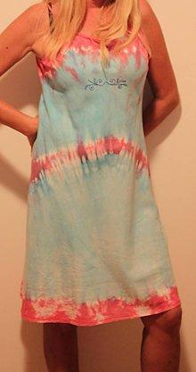 Šaty - Ľanové šaty batikované tyrkysovo ružové - 9825454_