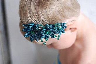 Ozdoby do vlasov - Čelenka - smaragdová - 9825777_
