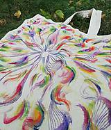 Nákupné tašky - Ručne maľovaná taška, Farebné pierka - 9825248_