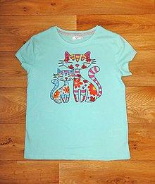Detské oblečenie - Detské maľované tričko mačky - 9823566_