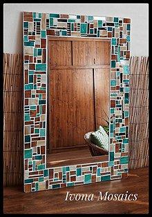 Zrkadlá - Mozaikové zrkadlo tyrkysovo-béžovo-hnedé - 9825960_