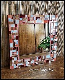 Zrkadlá - Mozaikové zrkadlo korálovej farby - 9825969_