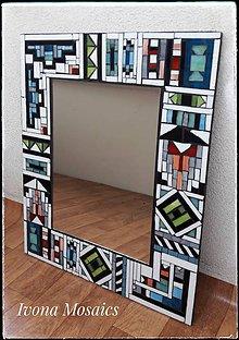 Zrkadlá - Mozaikové zrkadlo v africkom štýle Ndebele - 9825989_