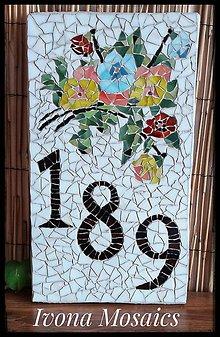 Tabuľky - Mozaikové číslo domu Kvetiny - 9826045_