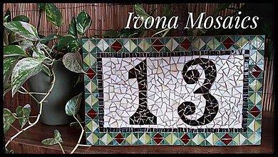 Tabuľky - Mozaikové číslo domu v zeleno-béžovej - 9826051_