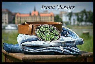 Opasky - Mozaiková pracka s opaskom- zelené listy - 9826056_