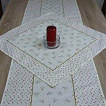 Úžitkový textil - Zlato červené stromčeky a bodky na smotanovej  - vianočný dekoračný obrus 58x58 - 9825071_