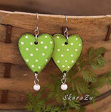 Náušnice - Heart dots // Lights green - 9825396_