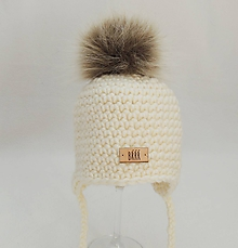 Detské čiapky - Maslová zimná detská čiapka s kožušinkou - 9825324_