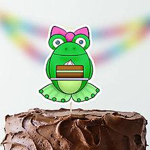 Dekorácie - Žabie zápichy na tortu (s mašličkou a tortičkou) - 9824332_