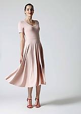 Šaty - Šaty Midi ružové s rázporkom - 9826635_