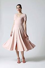 Šaty - Šaty Midi ružové s rázporkom - 9826637_