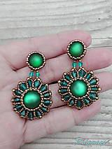 Náušnice - Rounds... (Bronze/Emerald) - 9826609_