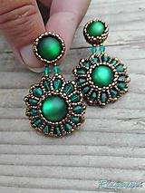 Náušnice - Rounds... (Bronze/Emerald) - 9826610_