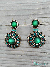 Náušnice - Rounds... (Bronze/Emerald) - 9826611_