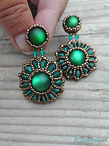 Náušnice - Rounds... (Bronze/Emerald) - 9826610_
