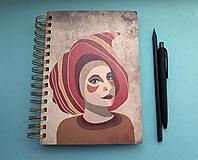 Papiernictvo - Drevený zápisník/skicár - Oheň. - 9826560_