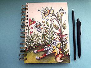 Papiernictvo - Drevený zápisník/skicár - Olino a jeho hviezda. - 9826823_