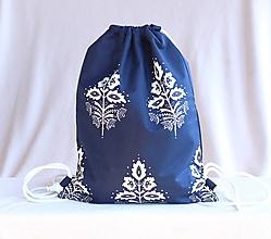Batohy - Vak uťahovací - modrý folk listy - 9826872_
