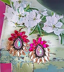 Náušnice - ružové sklenené náušničky - 9828513_
