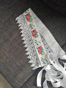 Opasky - Biely folk opasok s cipkou - 9826492_