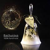 Kytice pre nevestu - Vianočný sklenený zvonček - 9828158_