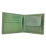 Peňaženky - Luxusná peňaženka z pravej kože, ručne tamponovaná, zelená - 9828116_