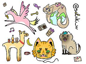 Grafika - mačka na planéte, pes v klobúku, ťavu s nápojom. lama s krídlami - 9829185_