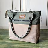 Kabelky - Casual leather&canvas bag - 9826312_