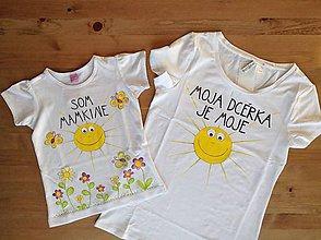 Tričká - Mamkodcérovské maľované duo tričiek (Dámske + detské tričko komplet) - 9828659_