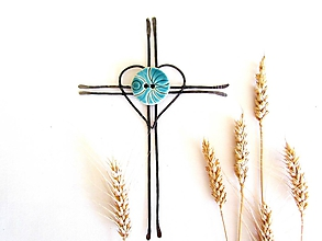 Dekorácie - Veľký tepaný krížik s keramikou - 9826386_