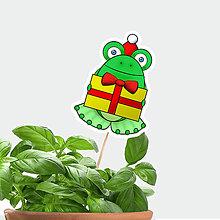 Dekorácie - Žabie zápichy do kvetináča vianočné - žabiak vianočný - 9826949_