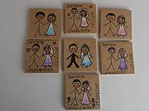 Darčeky pre svadobčanov - Maľované magnetky-svadobné - 9830777_