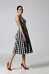 Šaty - Šaty čierno biela kocka - 9829425_