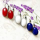 Elegant French Clasp Earrings 3 Pairs / Náušnice s bielym jadeitom, lazuritom a červeným jadeitom - 3 páry /0085