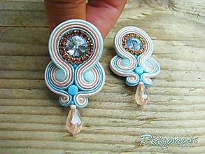 Náušnice - Simple teardrop...soutache (pastelové) - 9830608_
