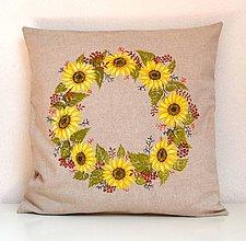Úžitkový textil - Vankúš-ručne maľovaný-Venček zo slnečníc - 9830041_
