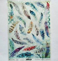 Papier - Ryžový papier na decoupage -A4-R1415 - perie, pierka, etno - 9830867_